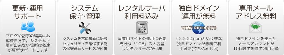 更新・運用サポート/システム保守・管理/レンタルサーバ利用料込み/独自ドメイン運用が無料/専用メールアドレス無料
